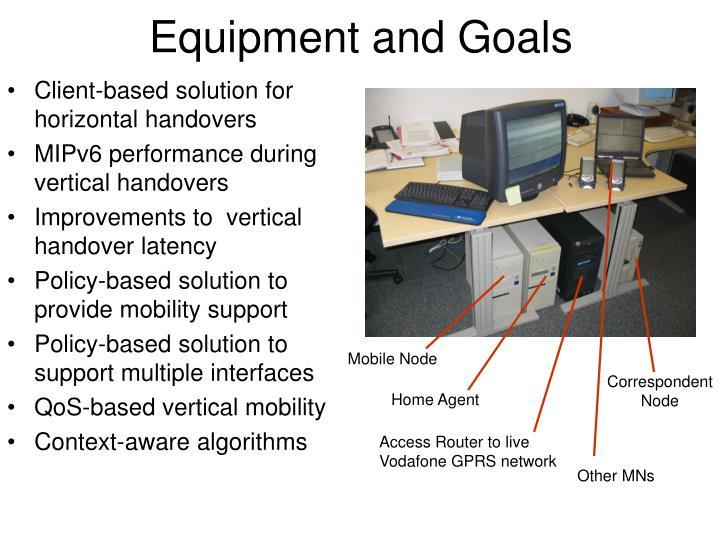 Equipment and Goals