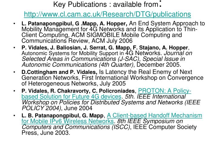Key Publications : available from