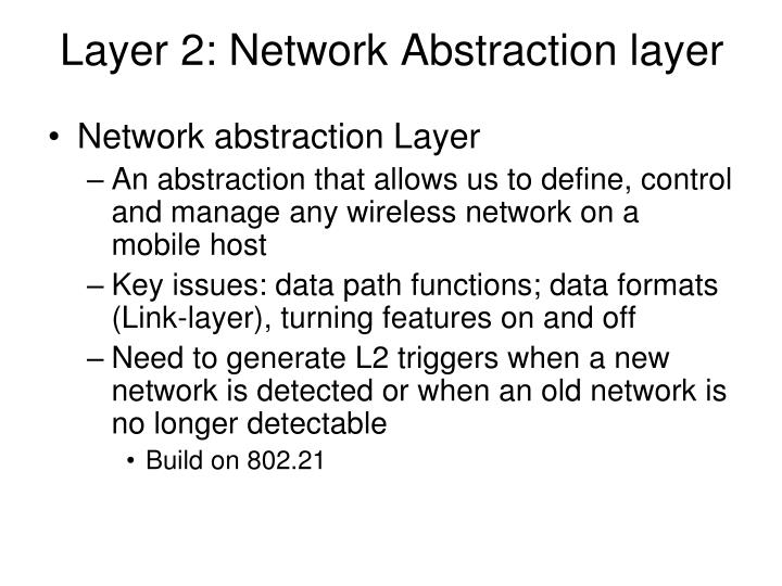 Layer 2: Network Abstraction layer