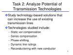task 2 analyze potential of transmission technologies