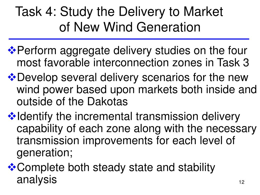 Task 4: Study the Delivery to Market