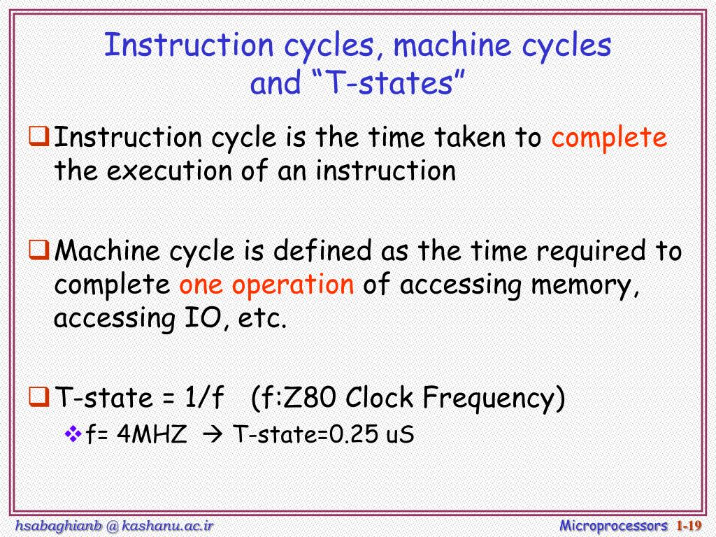 Instruction cycles, machine cycles