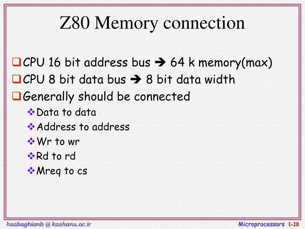 Z80 Memory connection