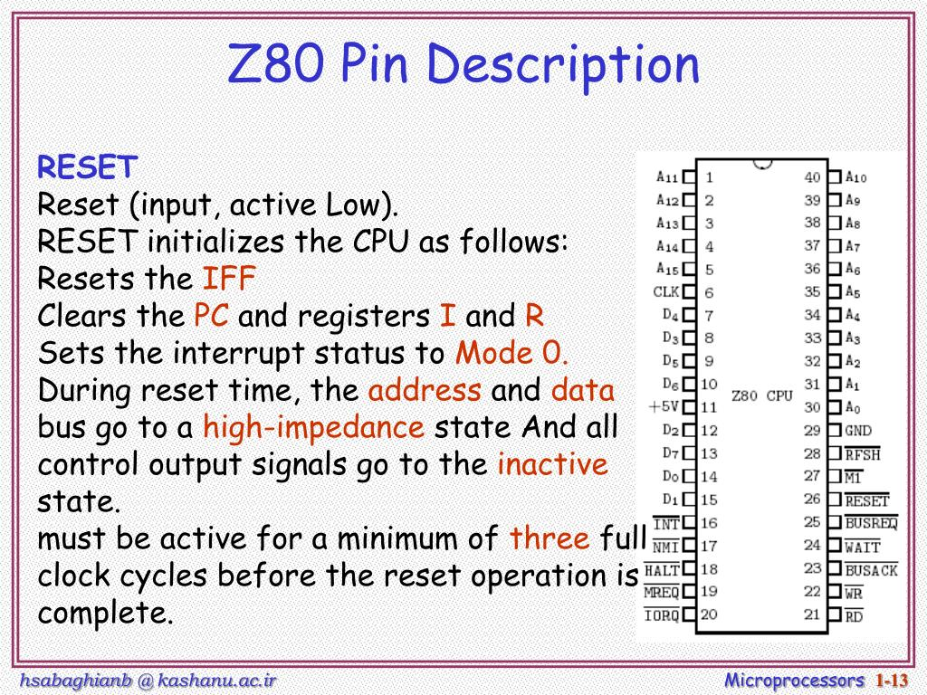 Z80 Pin Description