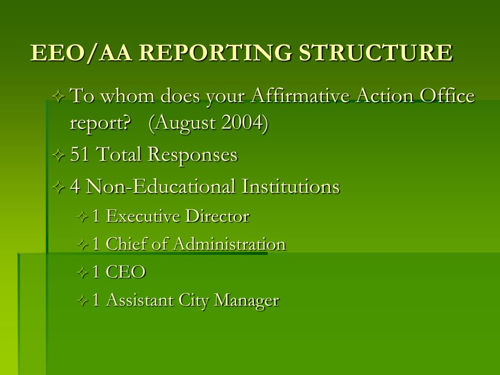 EEO/AA REPORTING STRUCTURE