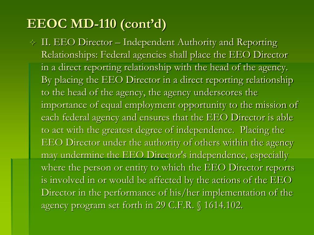 EEOC MD-110 (cont'd)