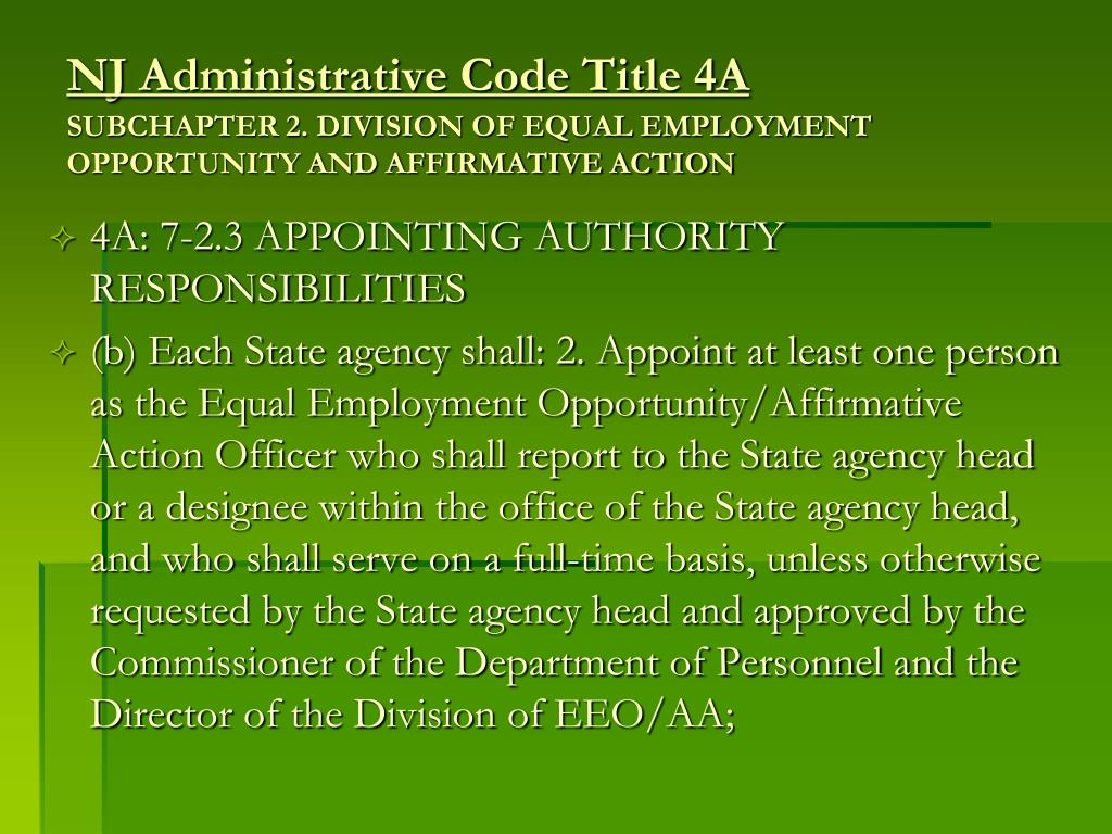 a comparison of affirmative action and equal opportunity Chapter 5: comparing incumbency to availability   affirmative action plan is the  evaluation of opportunities for protected group members, as well  availability,  an aap details specific affirmative action steps to guarantee equal employment.