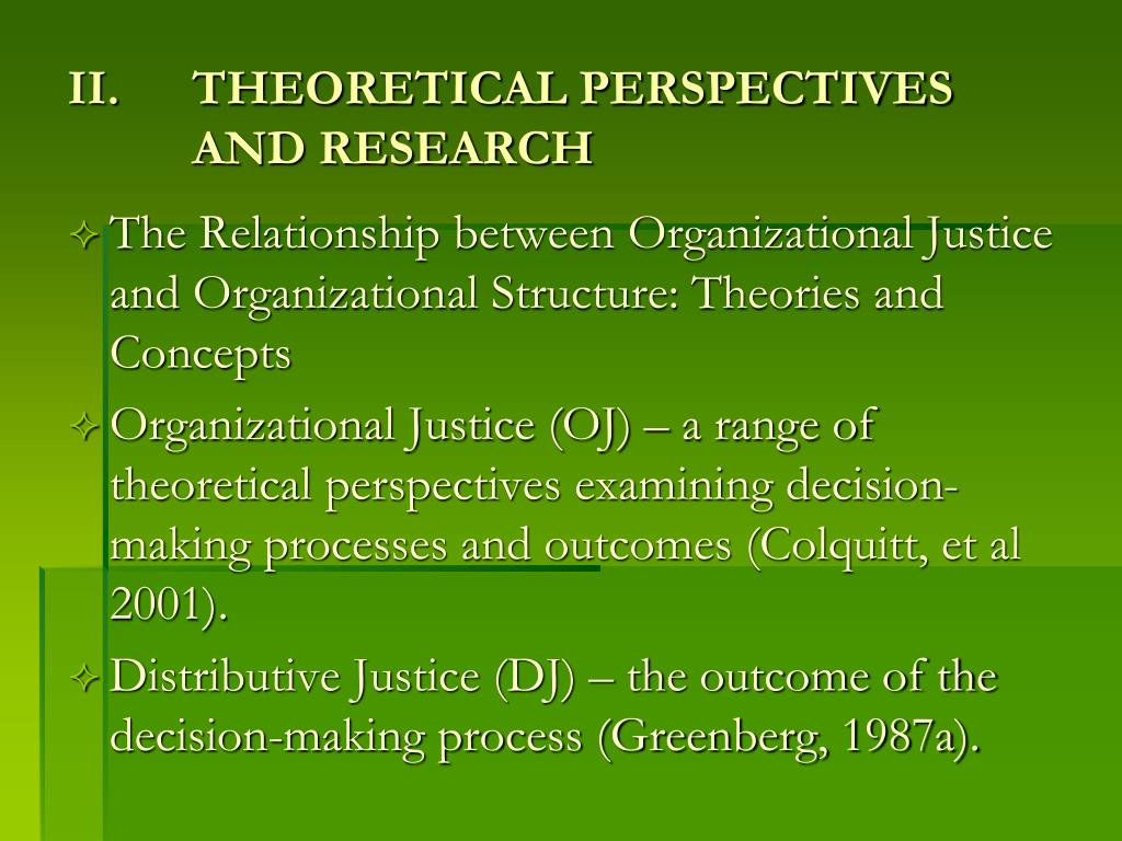 THEORETICAL PERSPECTIVES AND RESEARCH