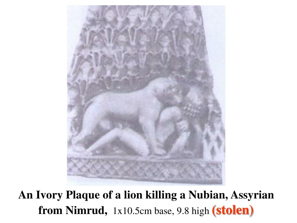An Ivory Plaque of a lion killing a Nubian, Assyrian from Nimrud,