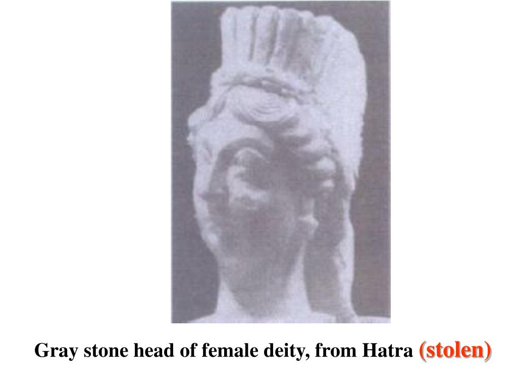 Gray stone head of female deity, from Hatra