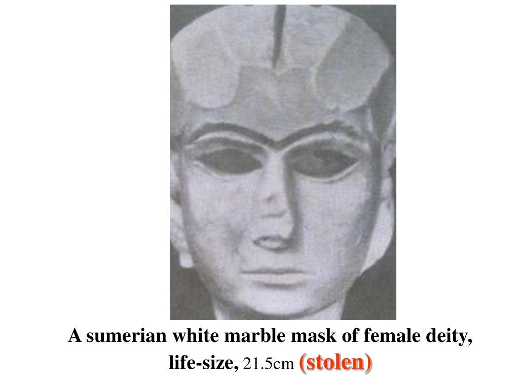 A sumerian white marble mask of female deity, life-size,