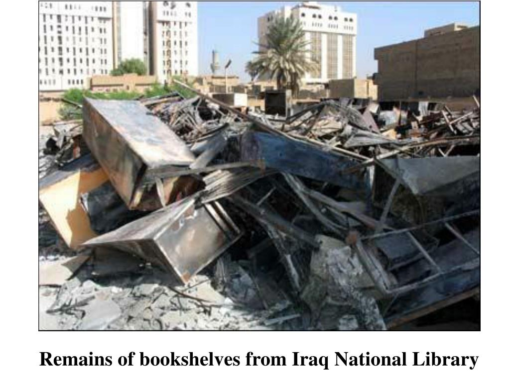 Remains of bookshelves from Iraq National Library
