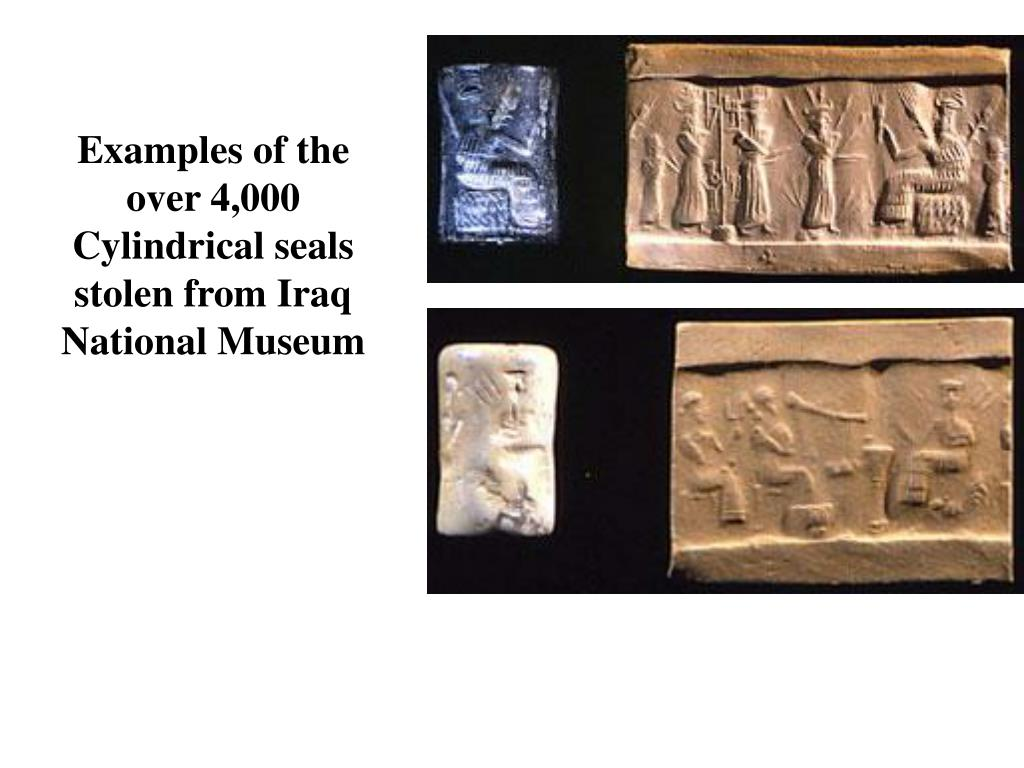 Examples of the over 4,000 Cylindrical seals stolen from Iraq National Museum
