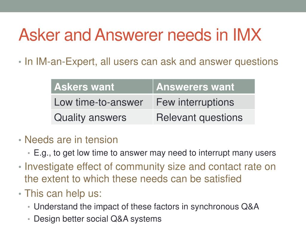 Asker and Answerer needs in IMX