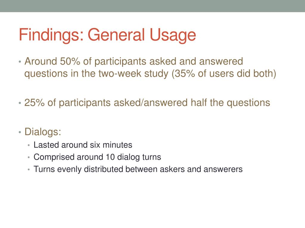 Findings: General Usage