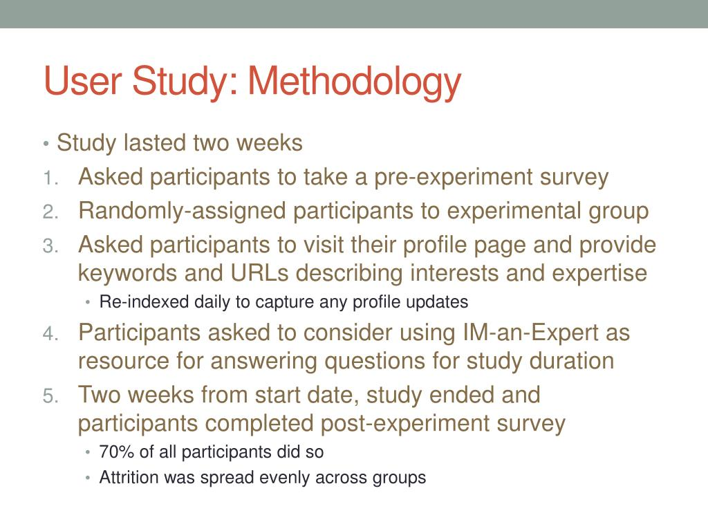 User Study: Methodology