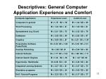 descriptives general computer application experience and comfort