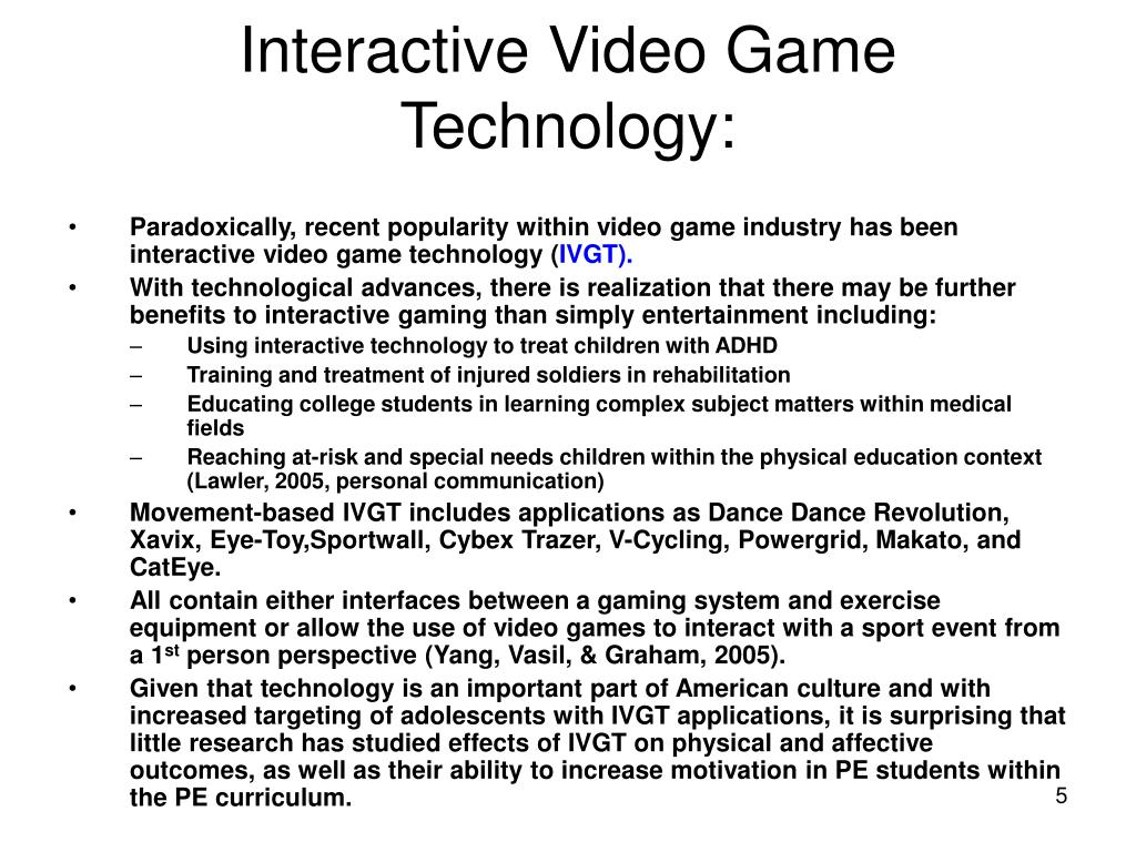 Interactive Video Game Technology: