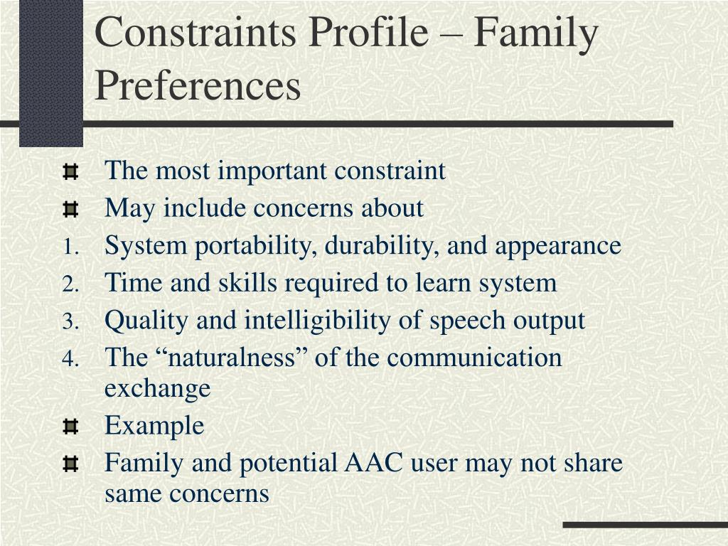 Constraints Profile – Family Preferences