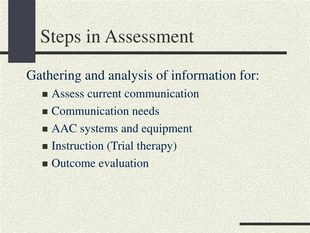 Steps in Assessment