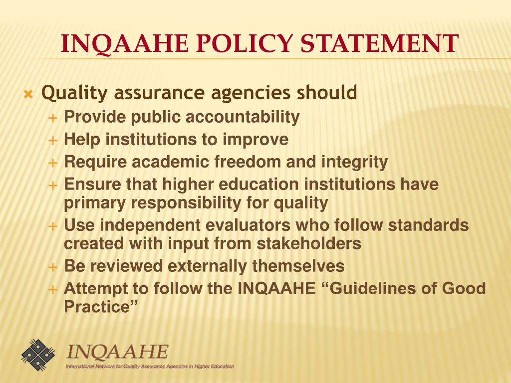 INQAAHE POLICY STATEMENT