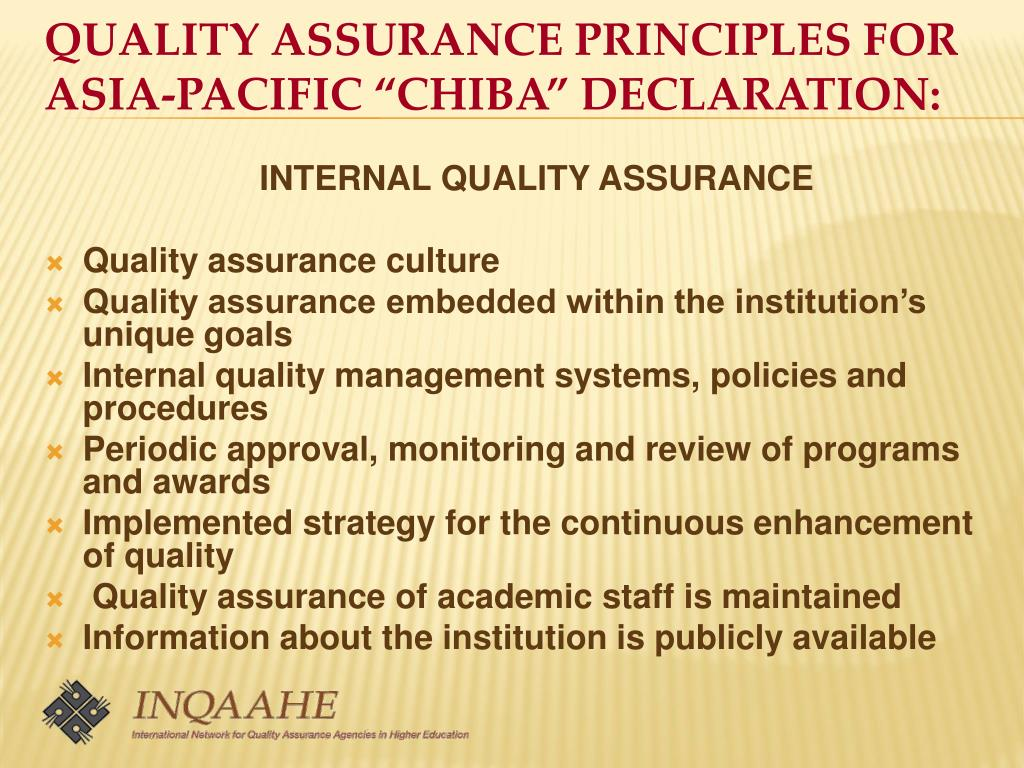 """QUALITY ASSURANCE PRINCIPLES FOR ASIA-PACIFIC """"CHIBA"""" DECLARATION:"""