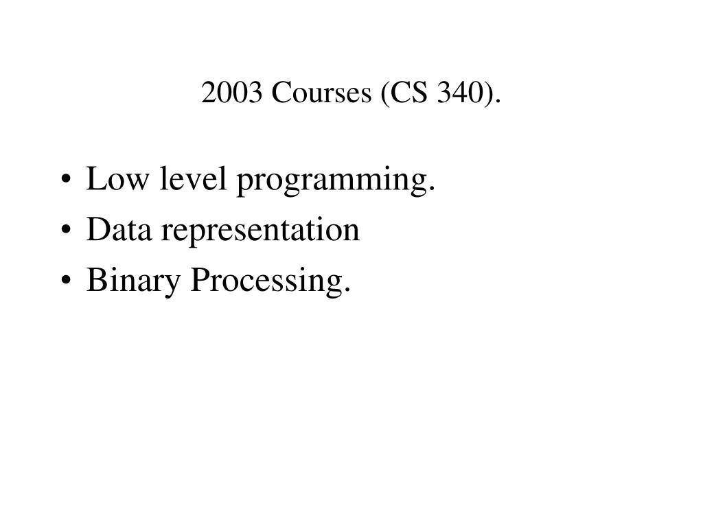 2003 Courses (CS 340).