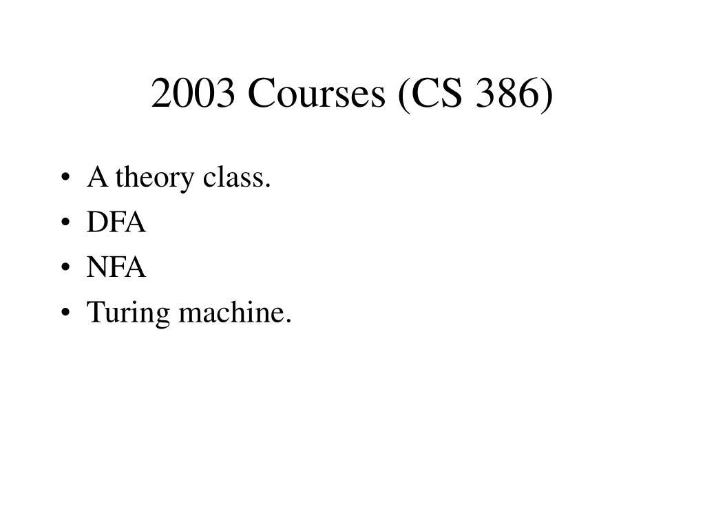 2003 Courses (CS 386)