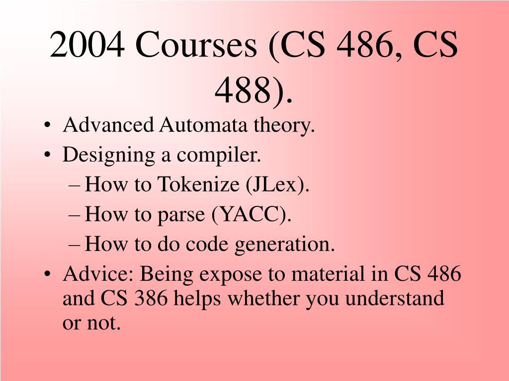 2004 Courses (CS 486, CS 488).