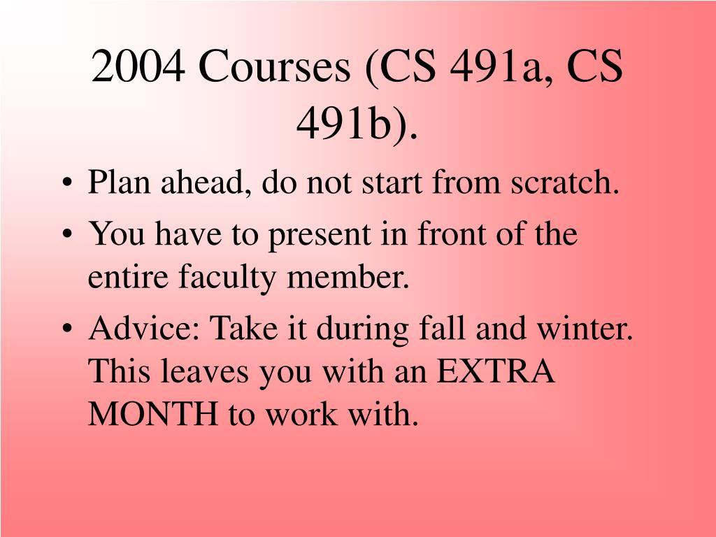 2004 Courses (CS 491a, CS 491b).