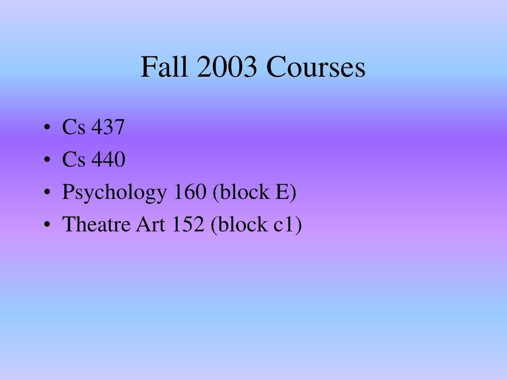 Fall 2003 Courses