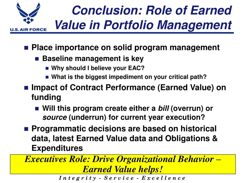 Conclusion: Role of Earned Value in Portfolio Management