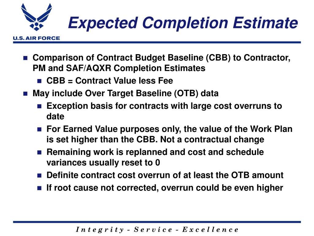 Expected Completion Estimate