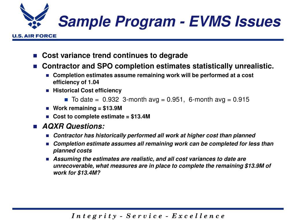 Sample Program - EVMS Issues