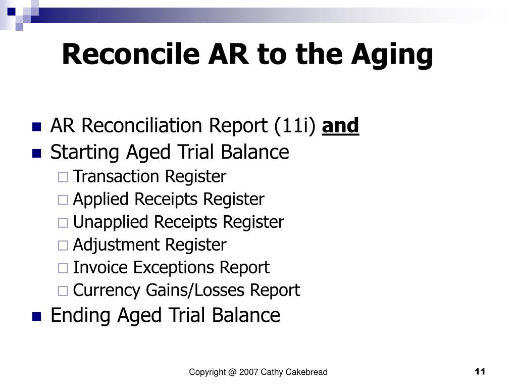 Reconcile AR to the Aging