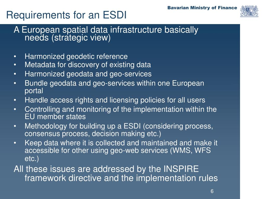 A European spatial data infrastructure basically needs (strategic view)