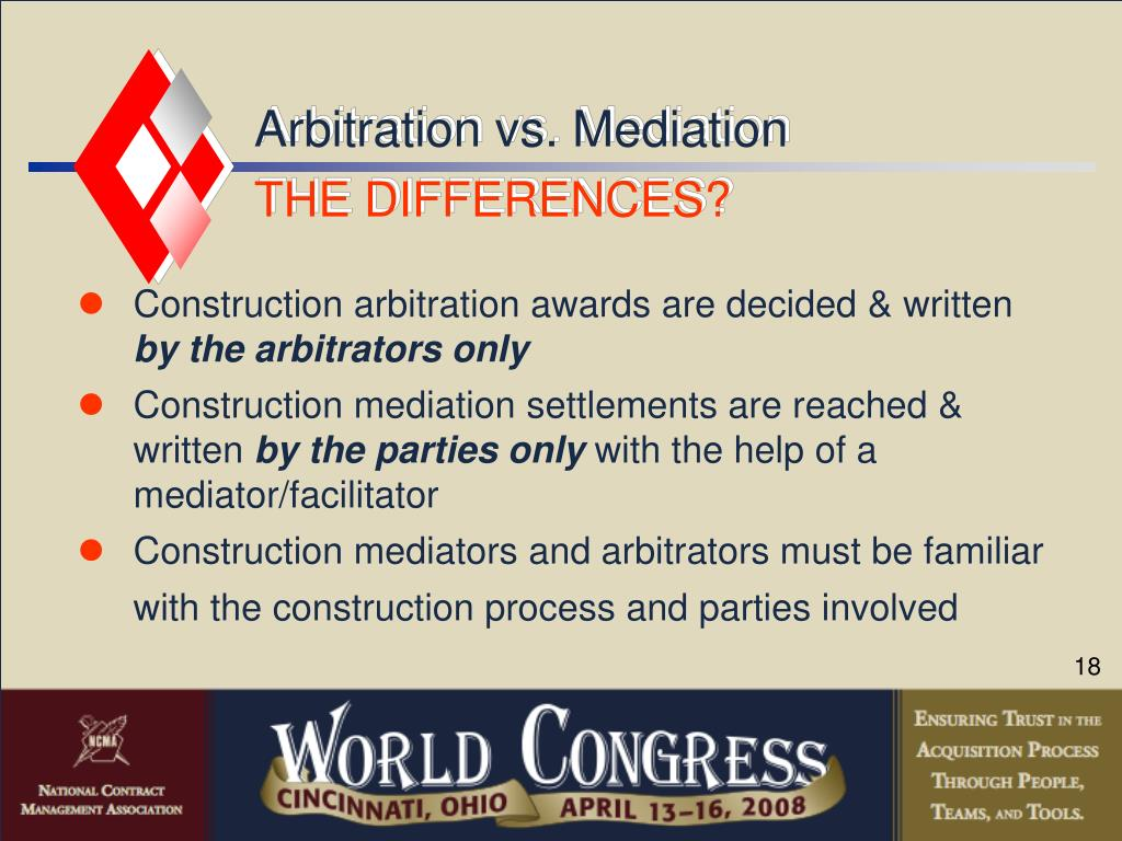 Arbitration vs. Mediation