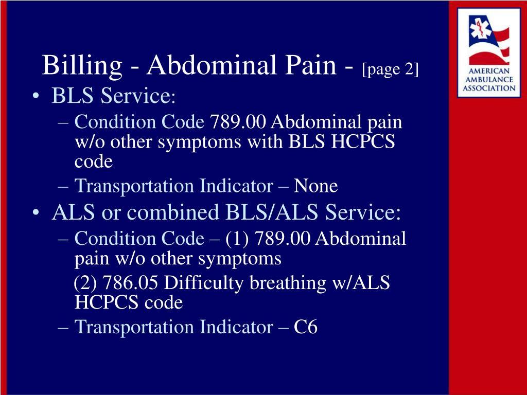 Billing - Abdominal Pain -