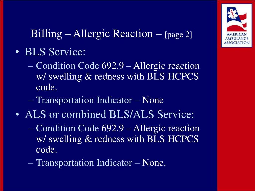 Billing – Allergic Reaction –