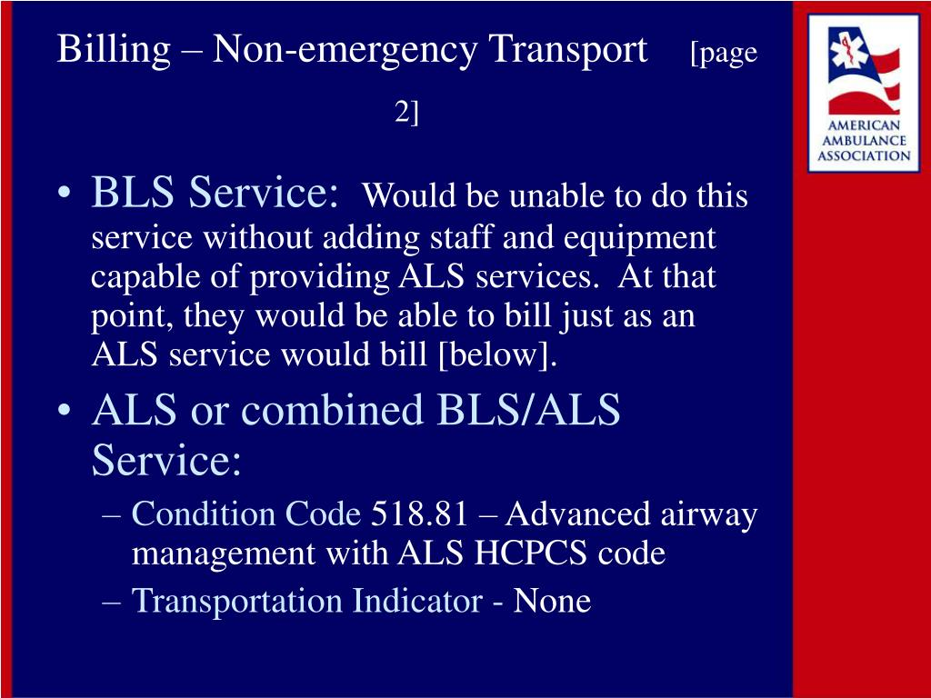 Billing – Non-emergency Transport