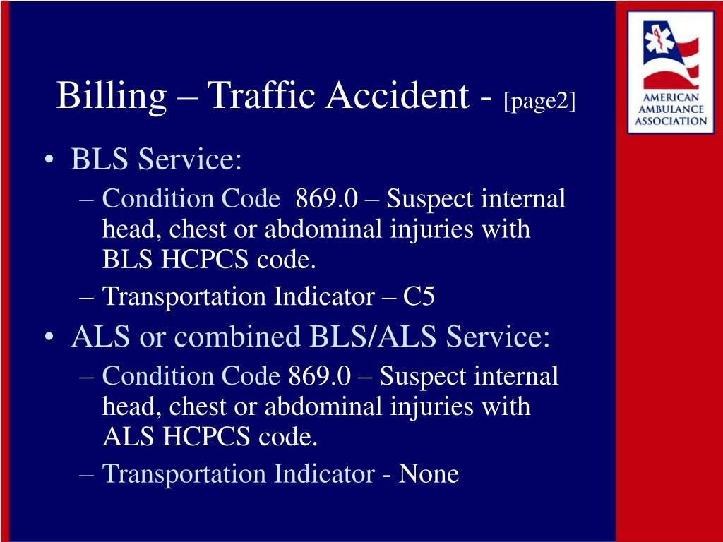 Billing – Traffic Accident -