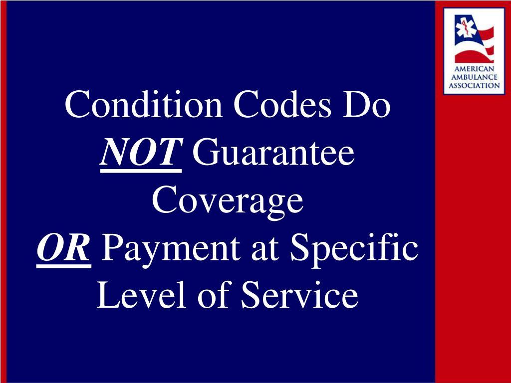 Condition Codes Do