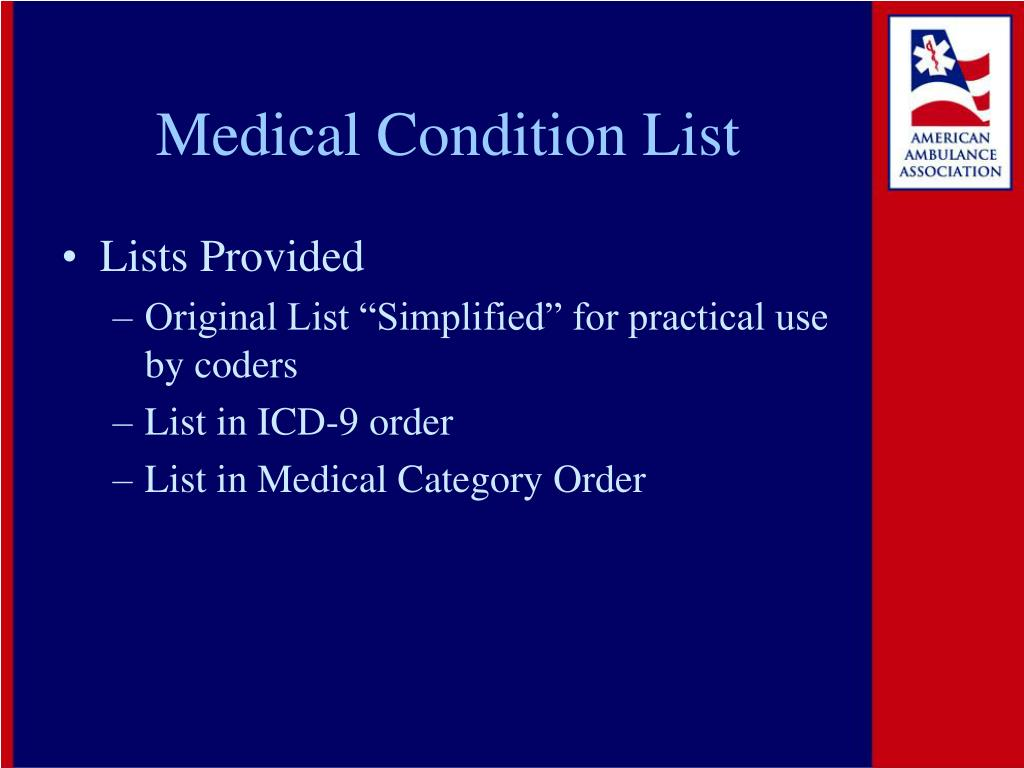 Medical Condition List