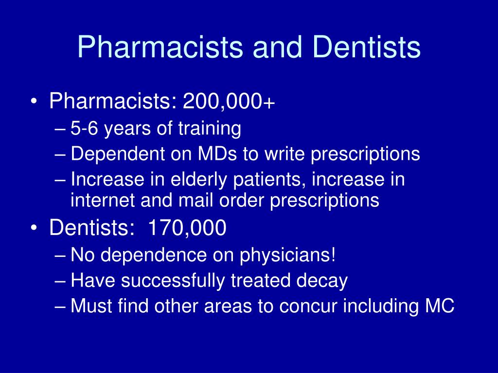 Pharmacists and Dentists