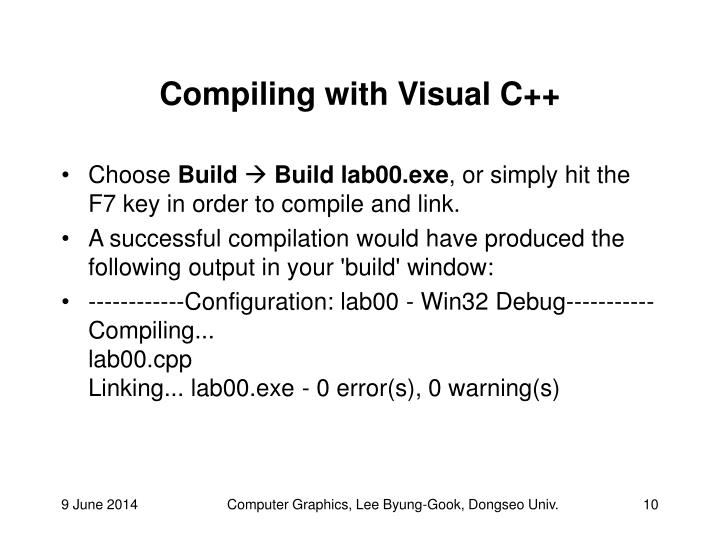 Compiling with Visual C++