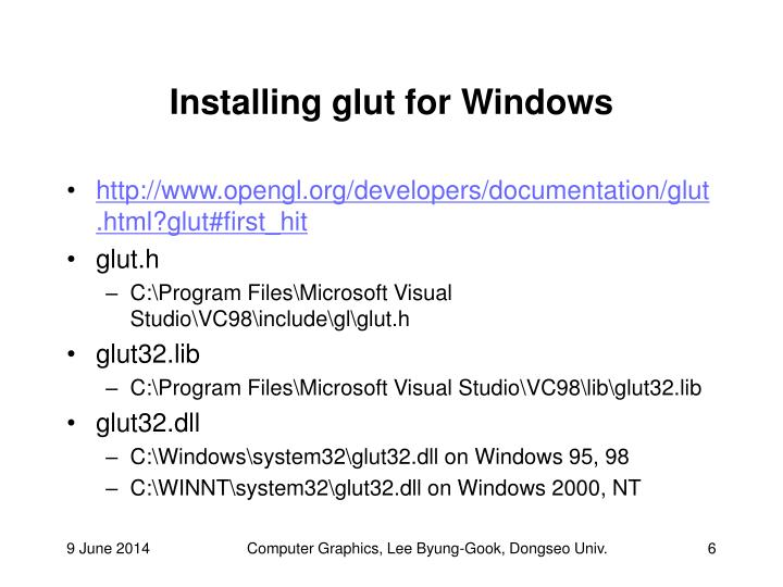 Installing glut for Windows