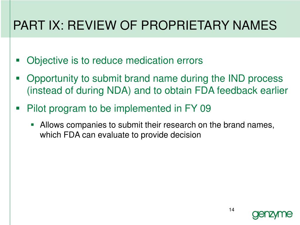 PART IX: REVIEW OF PROPRIETARY NAMES