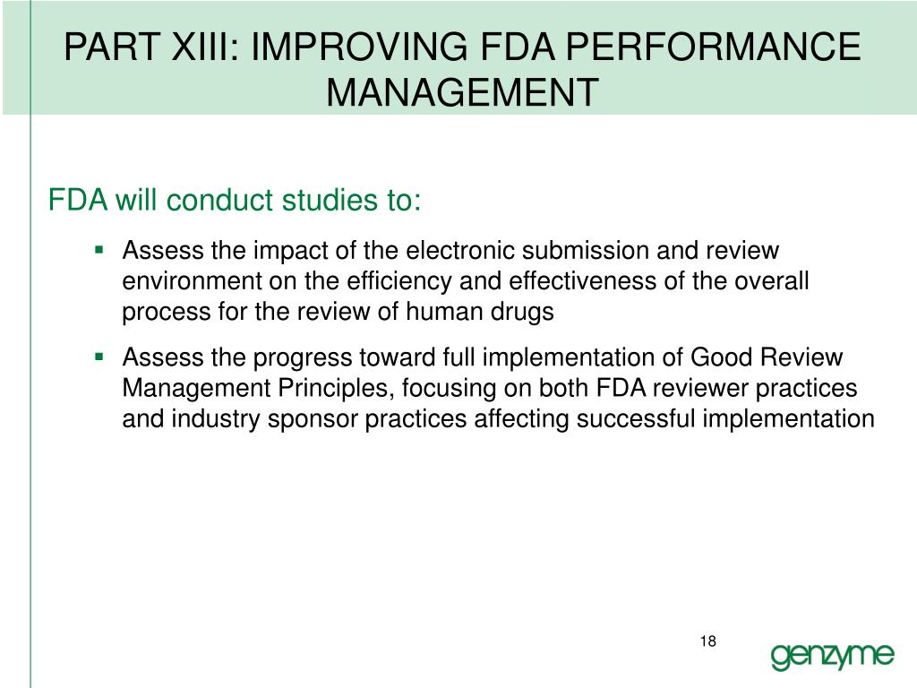PART XIII: IMPROVING FDA PERFORMANCE MANAGEMENT