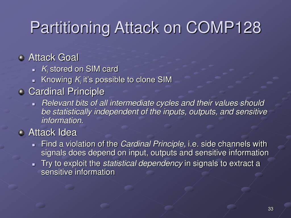 Partitioning Attack on COMP128