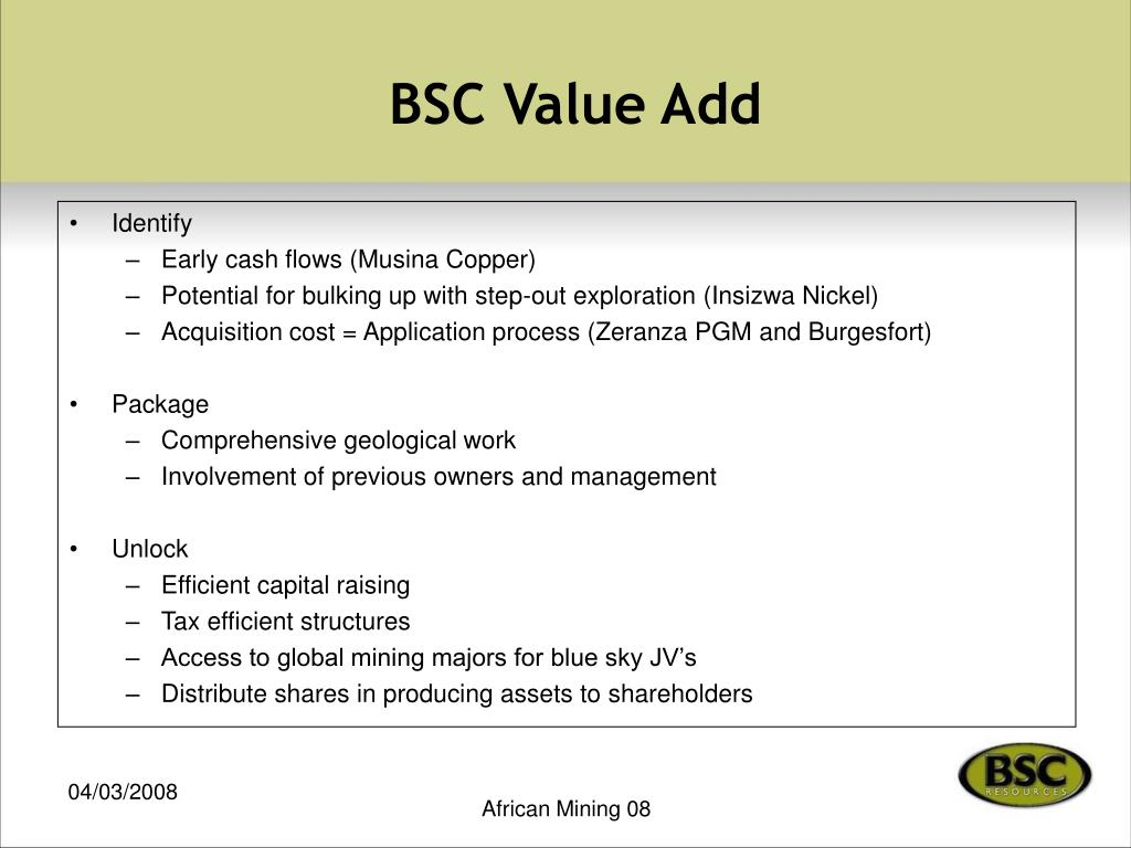 BSC Value Add